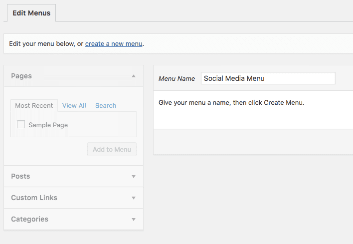 add social media menu to wordpress
