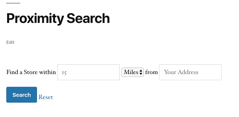 custom proximity search form
